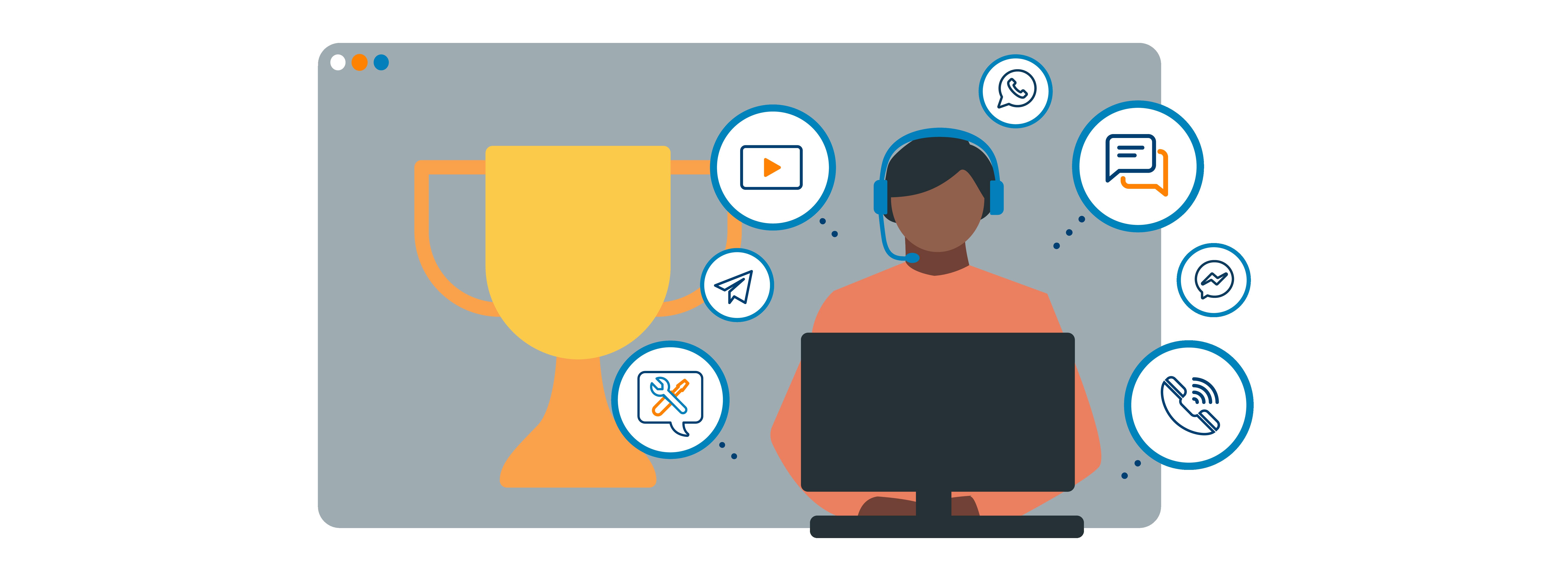 Grafik zu Multi-Channel-Strategy Service Champion: Mann mit Headset am Computer mit Icons für Video, Telefonie, Chat, SMS, neben ihm ein Pokal.
