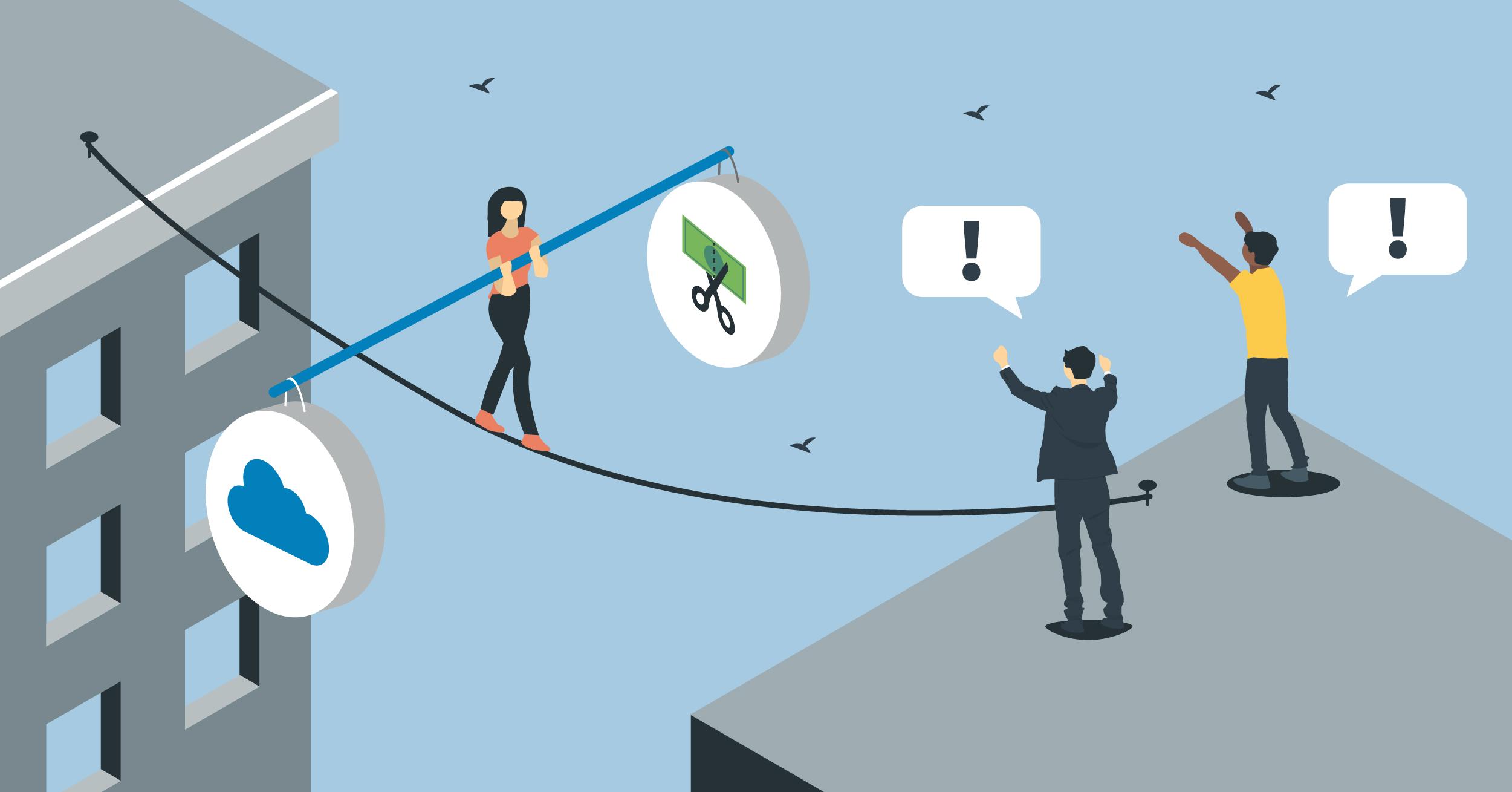 Frau balanciert IT-Kosten und Cloud-Investitionen auf einem Seil zwischen zwei Gebäuden.