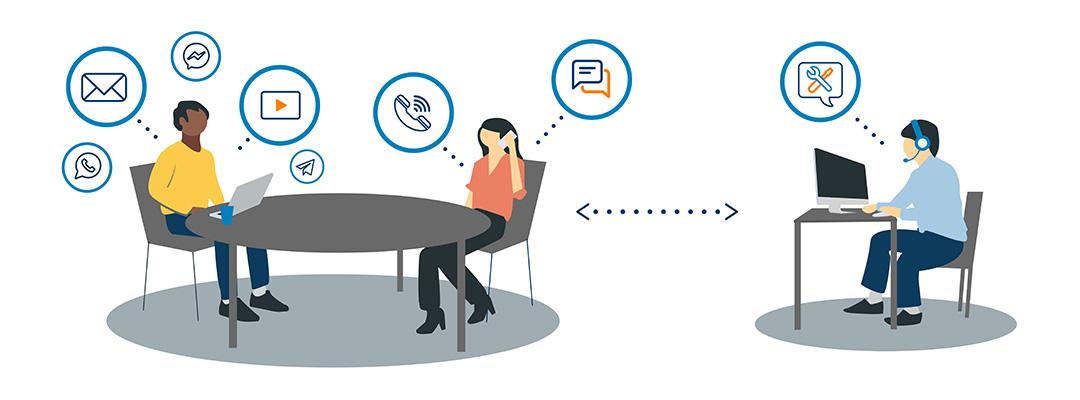 Grafik: Frau am Tisch kommuniziert per Telefon und Chat.