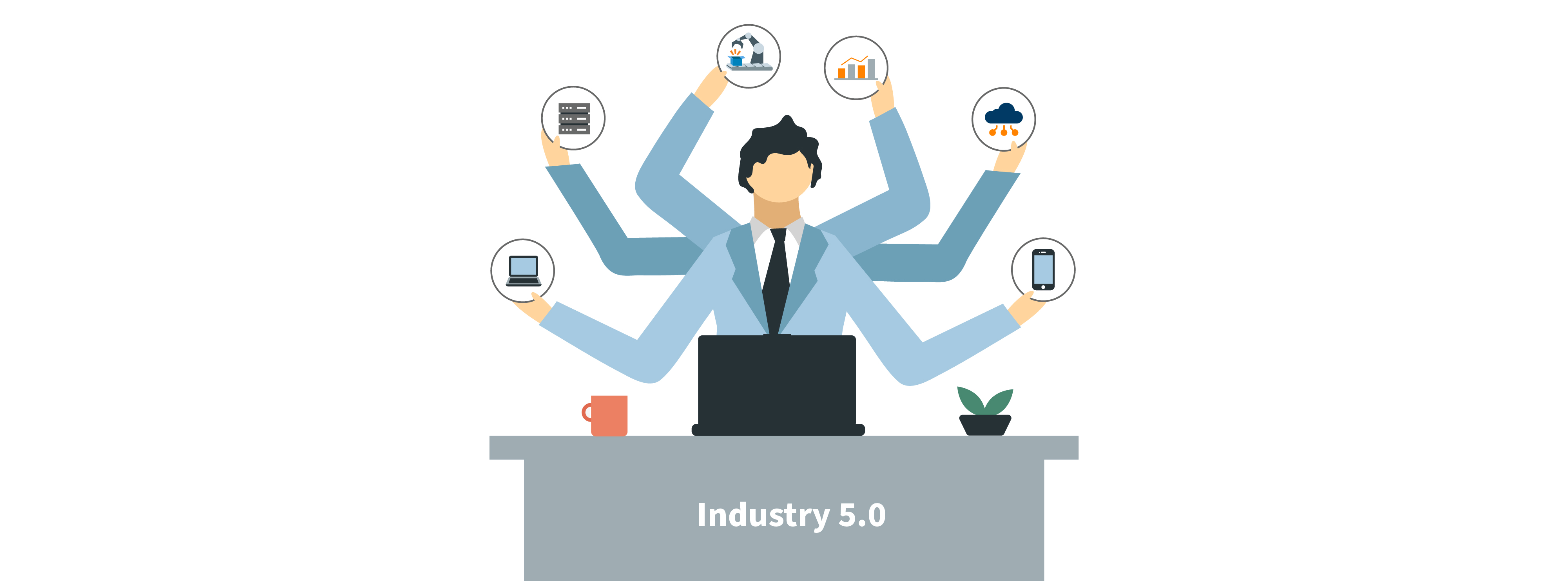 Person at desk juggling with many requirements for industry 5.0
